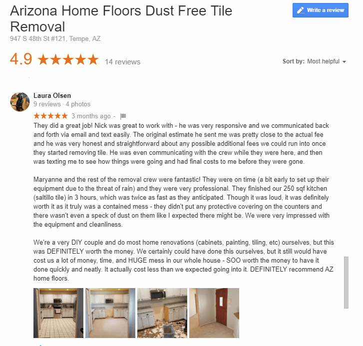 Arizona Home Floors Dust Free Saltillo Tile Removal Review